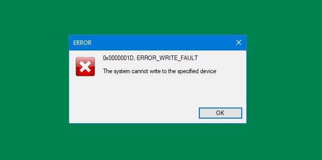 The system cannot write to the specified device