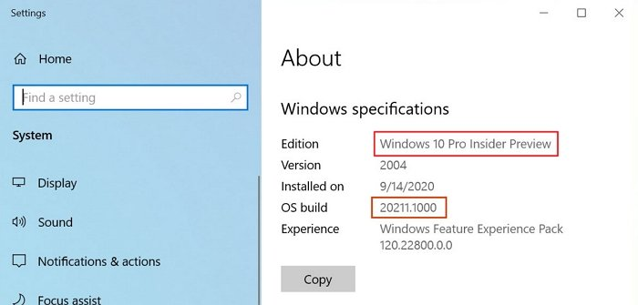 Windows Insider Settings About