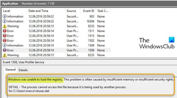 Windows was unable to load the registry