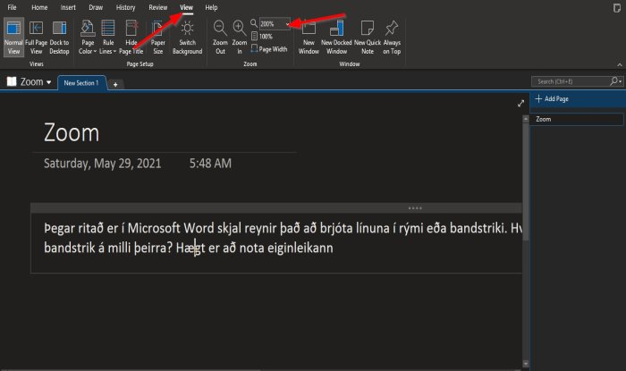 How to use the Zoom feature in OneNote