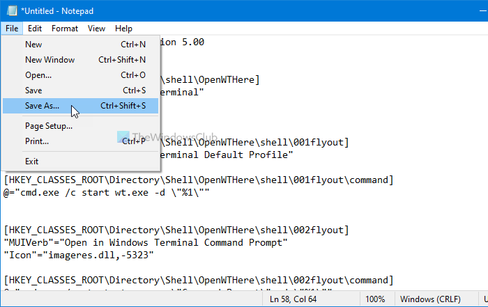 Add expandable Windows Terminal in context menu to open any profile