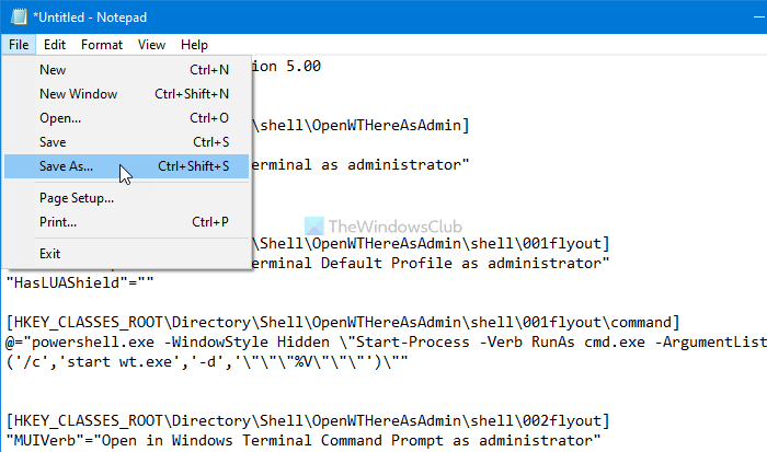 How to add or remove elevated Windows Terminal in context menu