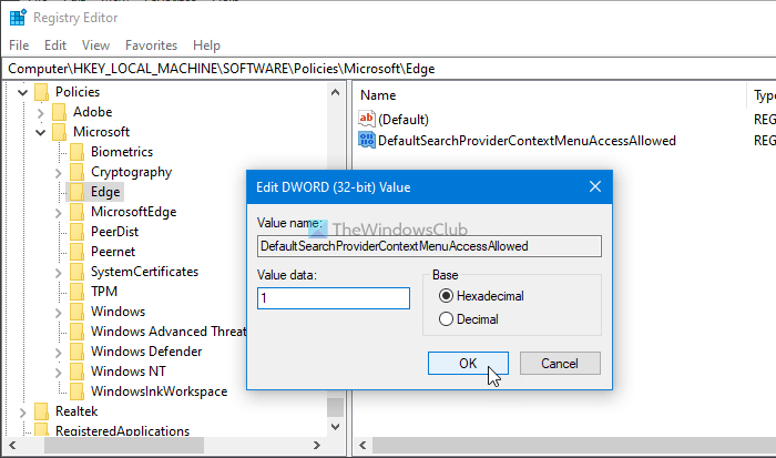 How to add or remove sidebar search panel in Microsoft Edge