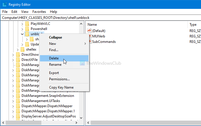How to add or remove Unblock option for downloaded files in context menu