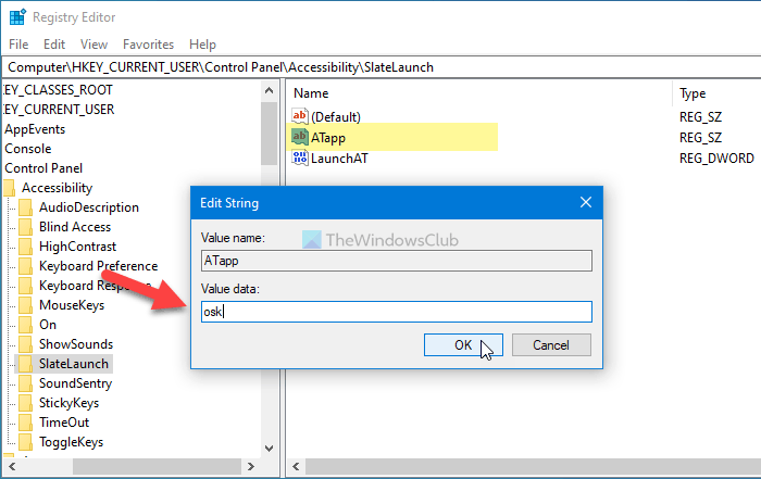 How to change Accessibility Tool to Launch using Registry editor