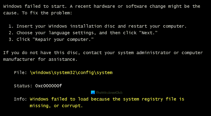 Windows failed to load because the system registry file is missing or corrupt