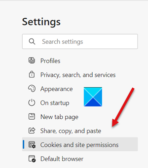 Cookies site and Permissions