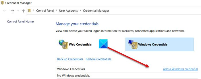 Credentials Manager Control Panel