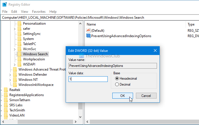 How to disable Advanced indexing options in Windows 10