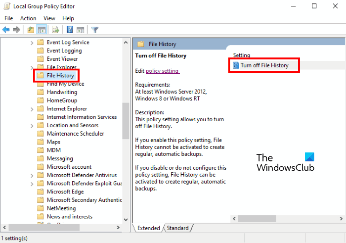 disable filehistory group policy editor