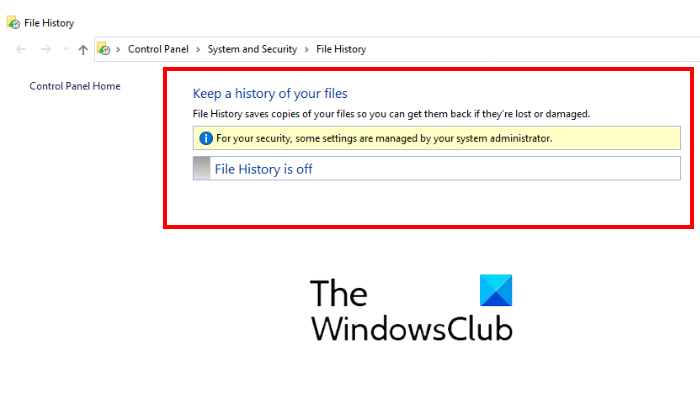 disable File History backup in Windows 10