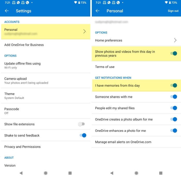 How to disable OneDrive On this day notifications on Android