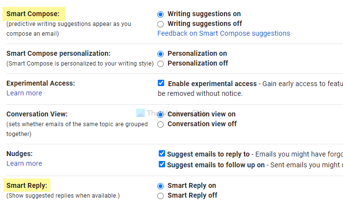 How to disable Smart Compose and Smart Reply in Gmail