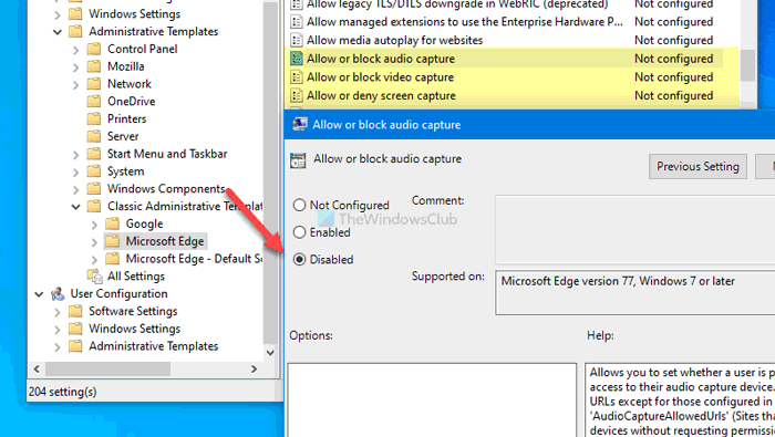 How to enable or disable audio, video, and screen capture in Edge