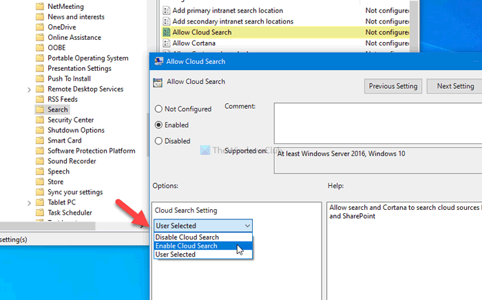 How to enable or disable Cloud content search in Taskbar search box