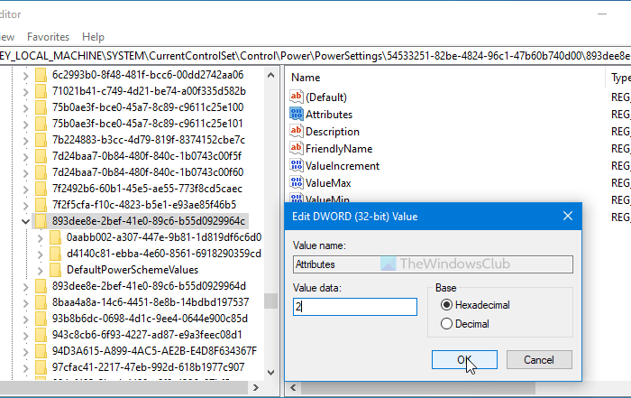How to show or hide Minimum and Maximum processor state in Power Options