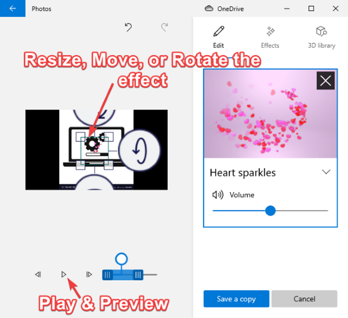 How to add 3D effects and animated text in Windows 10 Photos app