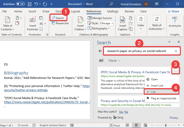 How to add Citations & References in Word