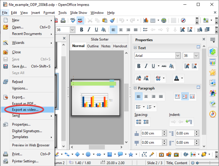 convert OpenDocument Presentation to Video in OpenOffice