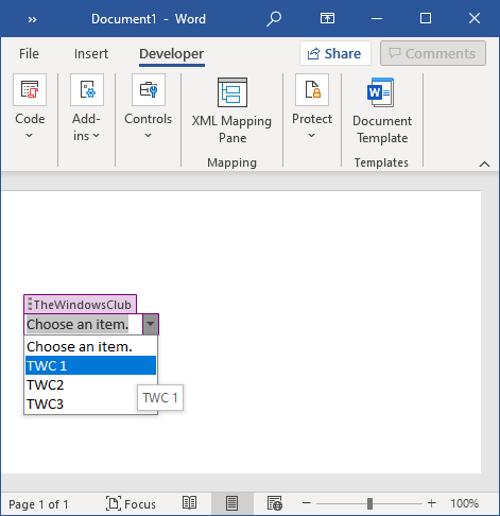 How to create a Drop-down List in Word