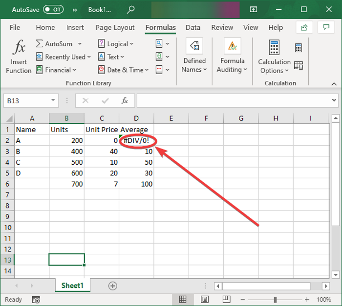 How to remove #DIV/0! error in Excel