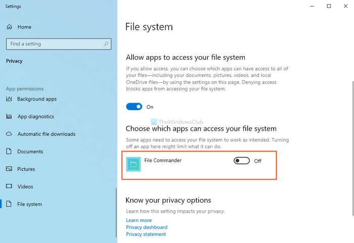 How to allow or prevent specific app from accessing File system