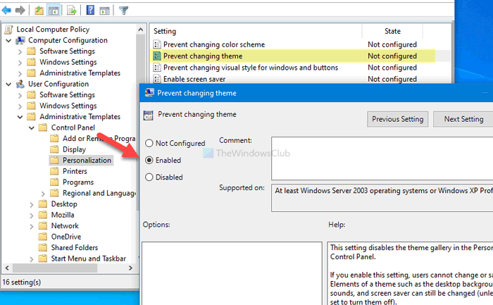 How to prevent users from changing the theme in Windows 10