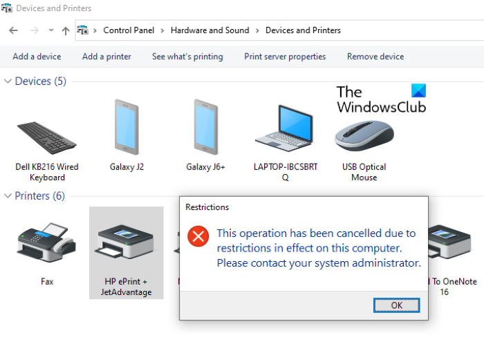 Prevent users from deleting Printers in Windows 10
