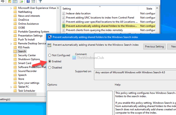 How to prevent Windows from automatically adding shared folders to Search Index