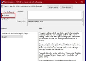 restrict selection of Windows menus and dialogs language