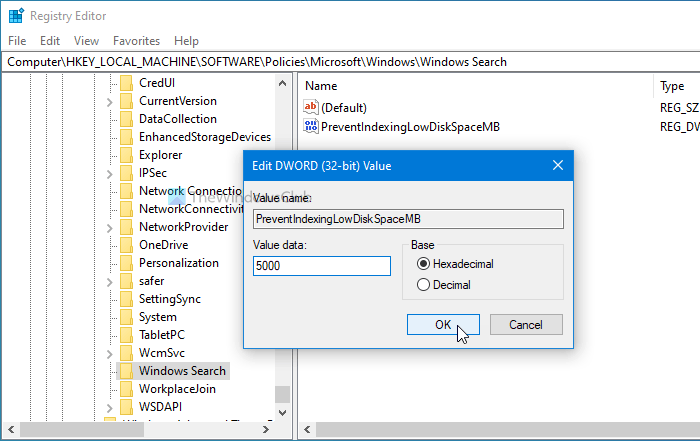 How to stop Windows Search Indexing when low in storage