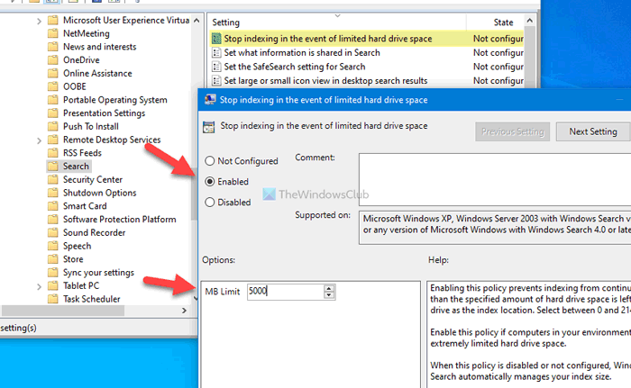 Turn off Windows Search Indexing when Disk Space is Low