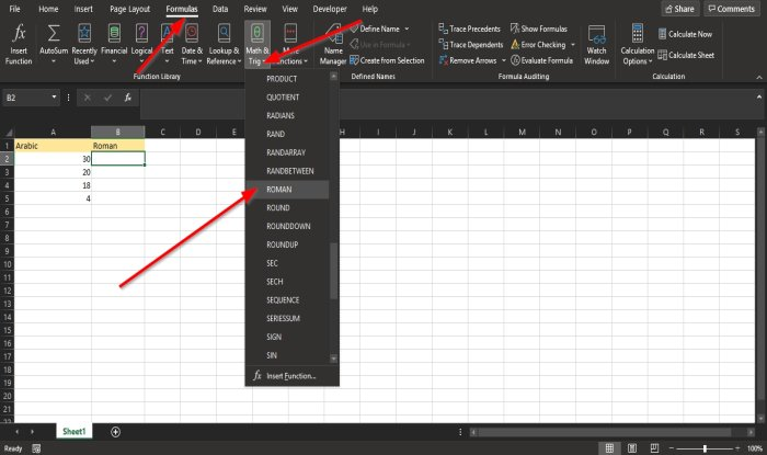 How to use the ROMAN function in Excel