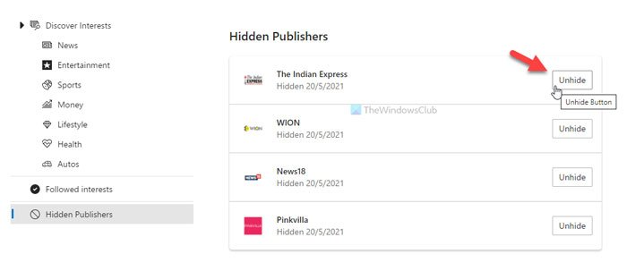 How to unhide publishers in News and Interests