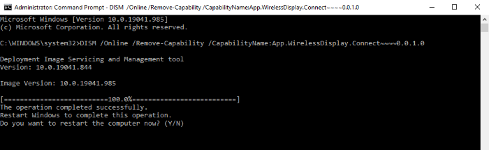 uninstall the wireless display feature