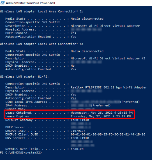 view DHCP lease time windows 10