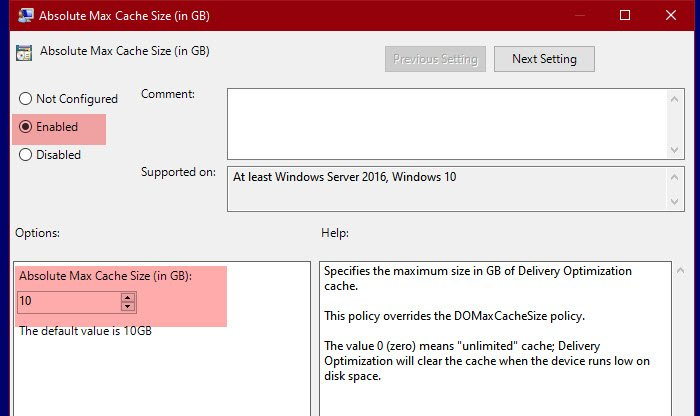 Change Delivery Optimization Max Cache Size for Updates in Windows 10
