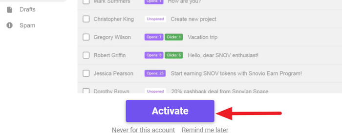 Activate Email Tracker
