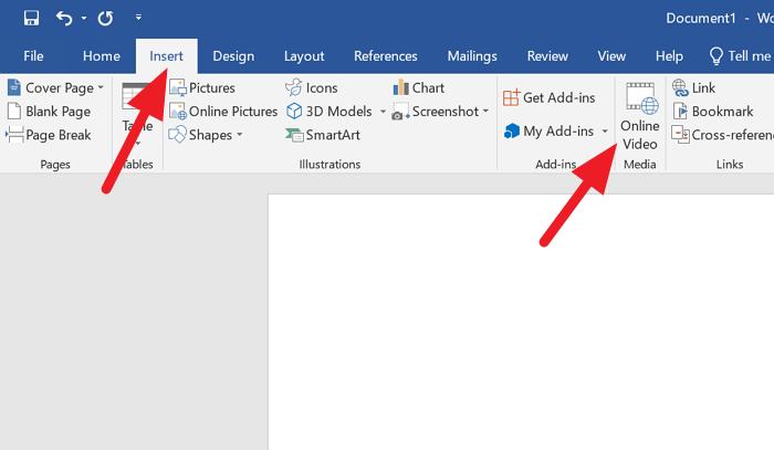 Add Online Video to Word
