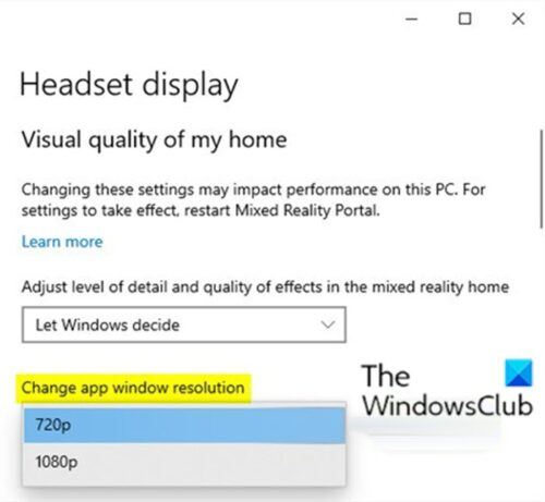 Change Mixed Reality App Window Resolution for Headset