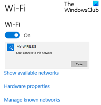 Surface device finds available wireless network but won't connect