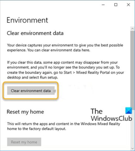 Clear Environment Data for Windows Mixed Reality