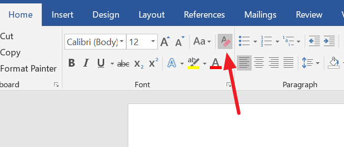 Clear Formatting in Word document