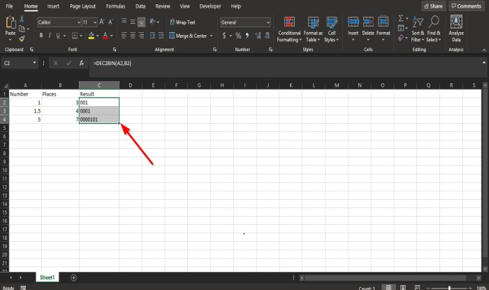 How to use DEC2Bin in Excel