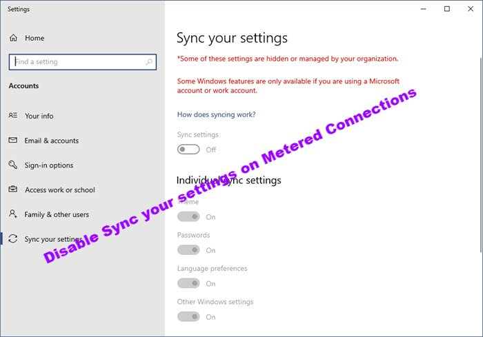 Disable Sync your settings on Metered Connections switch in Windows 10