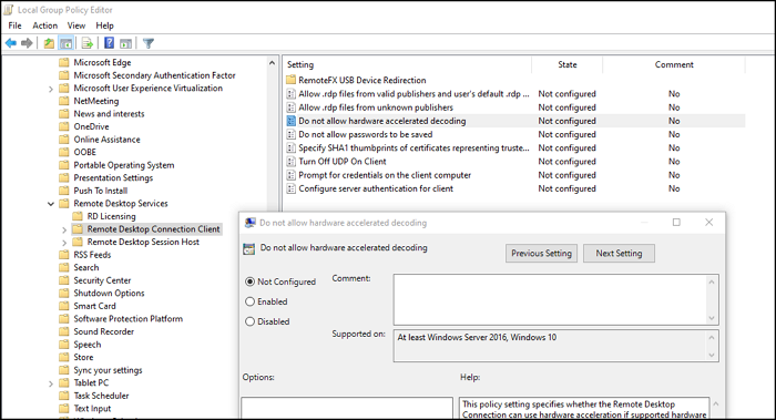 Enable Hardware acceleration setting RDP Group Policy
