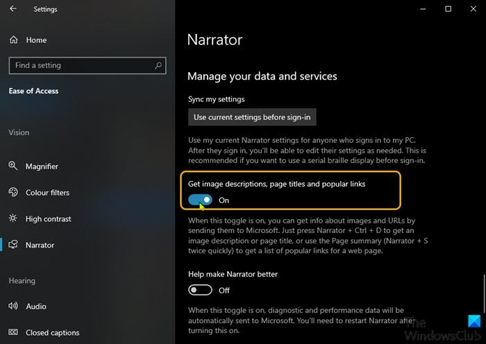 Enable or Disable Online Services for Narrator