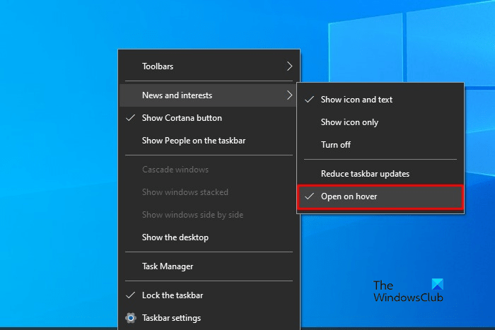 Enable or Disable Open News and Interests on Hover in Windows 10