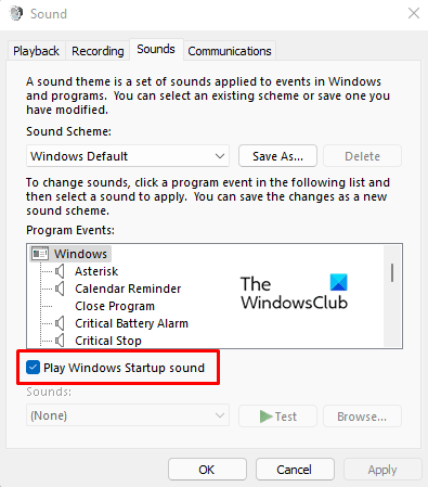 Enable or Disable the Startup Sound on Windows 11