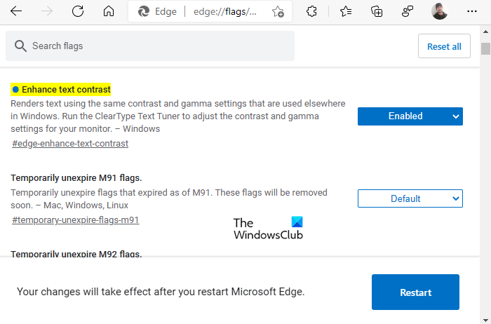 Enhance text contrast to improve font rendering in Microsoft Edge